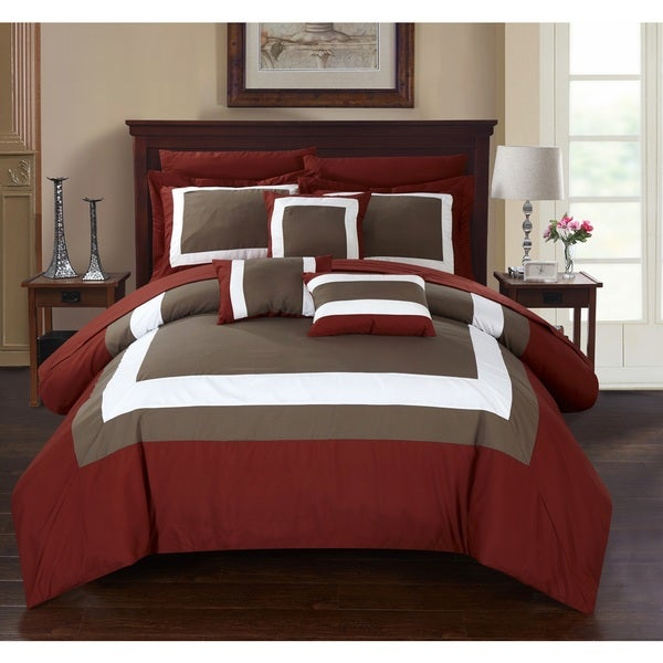 Chic Home Darren Brick Bed in a Bag Comforter 10-Piece Set
