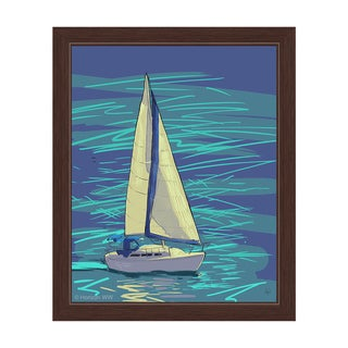 Sailing on Electric Blue Framed Canvas Wall Art