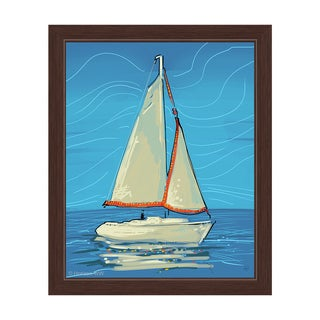 White and Red Sails Framed Canvas Wall Art