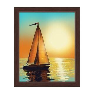 Sun Boat Framed Canvas Wall Art