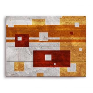 Tangerine Dissonance Wooden Wall Art
