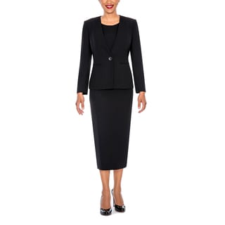 Giovanna Signature Women's Non-Collar 3-piece Black Polyester Suit