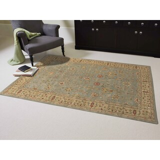 Julia Collection Green/Gold Wool Hand-tufted Area Rug (8'6 x 11'6)