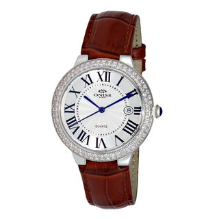 Oniss Ladies' ON3322 Swiss Silvertone/White Stainless Steel and Leather Timepiece
