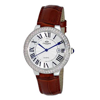 Oniss Ladies' ON3322 Swiss Silvertone/White Stainless Steel and Leather Timepiece|https://ak1.ostkcdn.com/images/products/12358584/P19185627.jpg?impolicy=medium