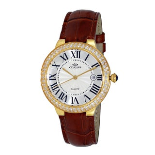 Oniss Paris Women's Swiss Goldtone/White/Brown Stainless Steel & Italian Leather Watch|https://ak1.ostkcdn.com/images/products/12358585/P19185628.jpg?_ostk_perf_=percv&impolicy=medium