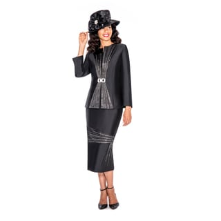 Giovanna Collection White/Black Polyester Skirt Suit