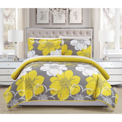 Chic Home Chase Yellow Reversible 7-Piece Bed in a Bag Quilt Set