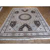 Tabriz Gombad Oriental Ivory Hand-knotted Wool and Silk Rug - 9'10 x 12'11