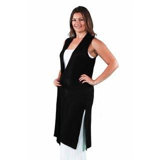 24/7 Comfort Apparel Women's Plus Size Sleeveless Long Shrug