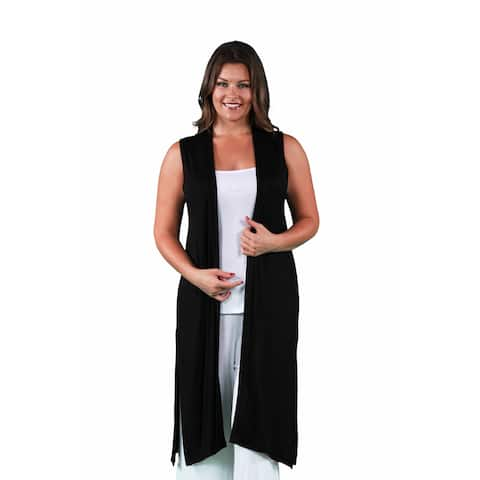 24/7 Comfort Apparel Women's Plus Size Sleeveless Long Shrug