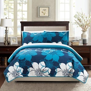 Chic Home Chase Blue 7-Piece Bed in a Bag Quilt with Sheet Set