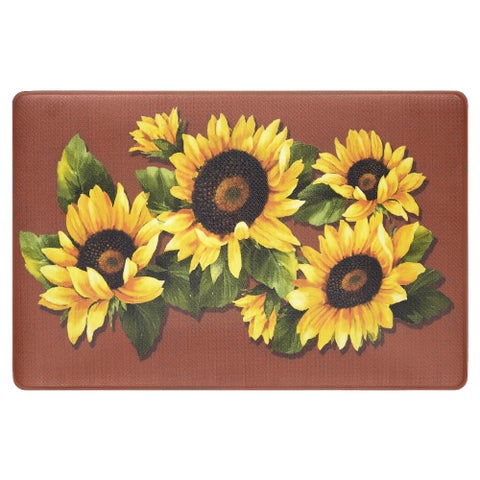 Achim Black Eyed Susan Anti-fatigue Decorative Kitchen Floor Mat - 1'5 x 2'5
