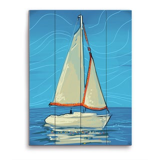 White and Red Sails Wooden Wall Art