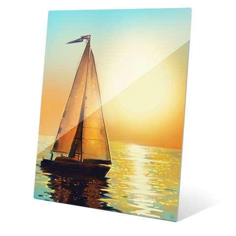 Sun Boat Wall Art on Glass