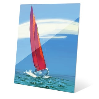 Crimson Sails Wall Art on Glass