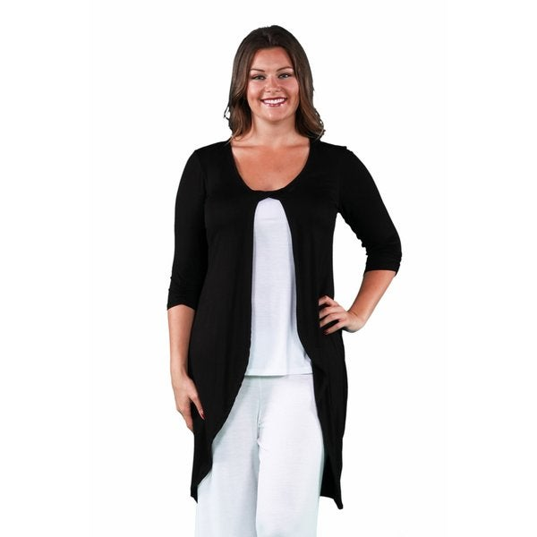 24/7 Comfort Apparel Women's Plus Size Front Twist Long Shrug