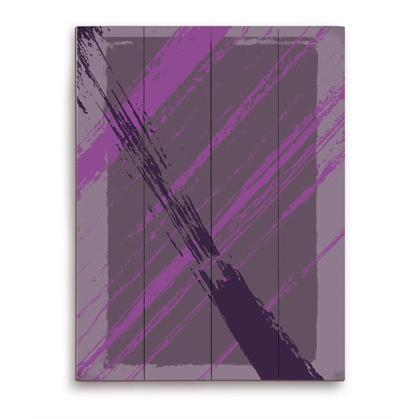 Happy Part in Violet and Grey Wooden Wall Art