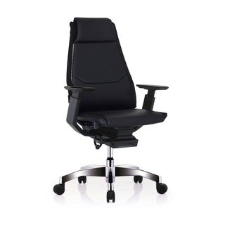 GM Seating Bodylux Black Genuine Leather Smart Seat Swivel Exectutive Chair with Chrome Base and Headrest