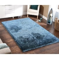 Amore Blue/White Hand Tufted Shag Area Rug - 8' x 11'
