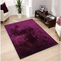 Amore Purple Polyester Shag Hand-tufted Area Rug - 8' x 11'