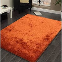 Amore Rust-colored Polyester Shag Area Rug - 8' x 11'