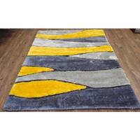 Living Shag Black/Grey/Yellow/Silver Hand Tufted Area Rug - 8' x 11'