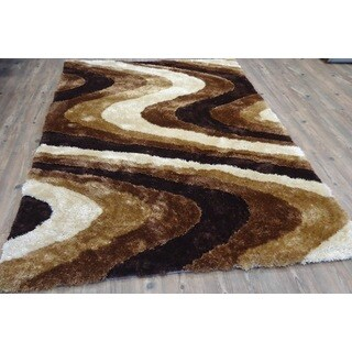 Living Shag Brown/Beige Hand-tufted Area Rug (7'6 x10'3)