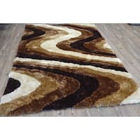 Living Shag Brown/Beige Hand-tufted Area Rug - 8' x 11'