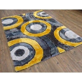 Living Shag Gray/Yellow/Black/Silver Polyester Hand-tufted Area Rug (7'6 x 10'3)