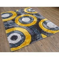 Living Shag Gray/Yellow/Black/Silver Polyester Hand-tufted Area Rug - 8' x 11'