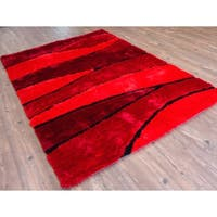 Living Shag Hand Tufted Area Rug Red Black Dark Red - 8' x 11'