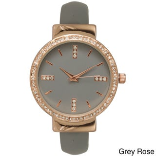 Olivia Pratt Women's Rhinestone Accented Simple Watch (Option: Grey)