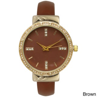 Olivia Pratt Women's Rhinestone Accented Simple Watch (Option: Brown)