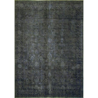 Distressed Ibrahim Ink Blue Wool Rug (8'5 x 11'1)