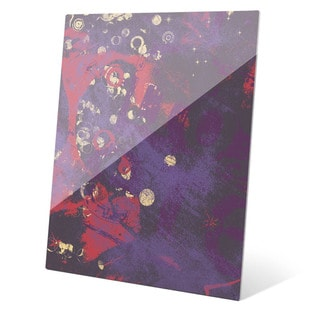 Contrast Material in Violet and Red Wall Art on Glass