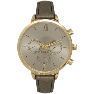 Olivia Pratt Women's Leather Band Stainless Steel Watch