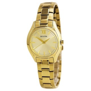 Bulova Women's 97L150 Gold Tone Stainless Steel Watch with a Champagne Dial