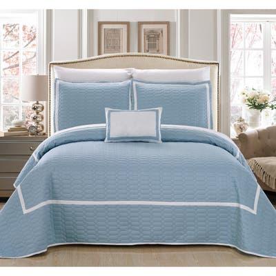 Chic Home Nero QIB Light Blue Quilt 8-Piece Set