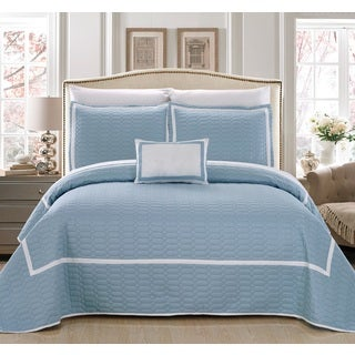 Chic Home Nero QIB Light Blue Quilt 8-Piece Set