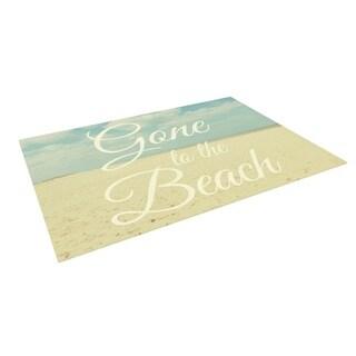 KESS InHouse Alison Coxon Gone To The Beach Tan Blue Outdoor Patio Rug (4' x 5')