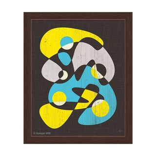 Scatter Brain Yellow And Blue Framed Canvas Wall Art