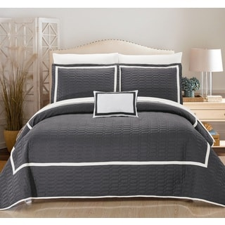 Chic Home Nero QIB Grey Quilt 8-Piece Set