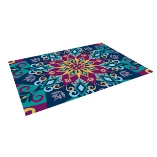KESS InHouse Amanda Lane Blooming Mandala Outdoor Patio Rug (4' x 5')