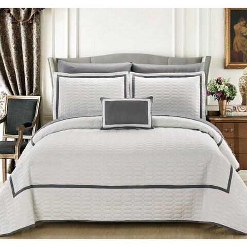 Chic Home Nero QIB White Quilt 8-Piece Set