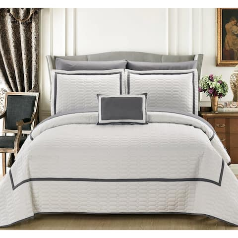 Chic Home Nero QIB White Quilt 8-Piece Set