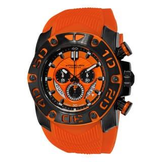 Stuhrling Original Men's Swiss Quartz Chronograph Chief Commander Orange Rubber Strap Watch|https://ak1.ostkcdn.com/images/products/12359037/P19185982.jpg?impolicy=medium