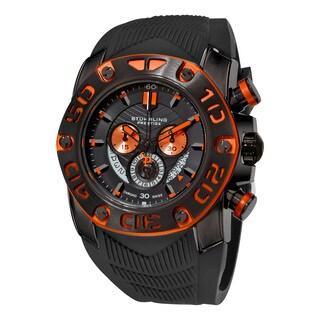 Stuhrling Original Men's Swiss Quartz Cheif Commander Chrongraph Black Silicon Rubber Strap Watch