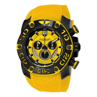Stuhrling Orignal Men's Swiss Quartz Chief Commander Chrongraph Yellow Rubber Strap Watch