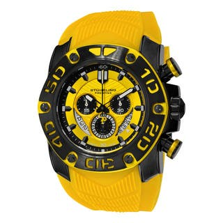 Stuhrling Orignal Men's Swiss Quartz Chief Commander Chrongraph Yellow Rubber Strap Watch|https://ak1.ostkcdn.com/images/products/12359042/P19185977.jpg?impolicy=medium